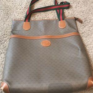 Gucci small GG Shoulder Bag Brown Leather Vintage